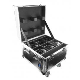 6x projecteurs WELLFIT RGBA 4x10 Watts IP65 + Flight Case