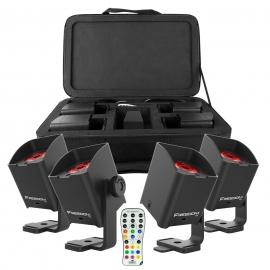 Set de 4 Projecteurs 1xLEDs 10W RGBAW+UV accu+D-Fi
