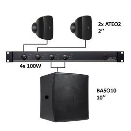 Set 2x Mini ATEO2 + Sub BASO10 + Ampli EPA104 - Noir