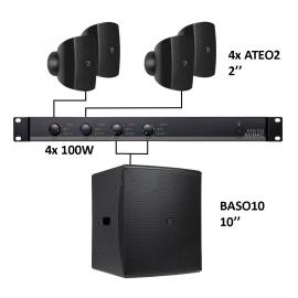 Set 4x Mini ATEO2 + Sub BASO10 + Ampli EPA104 - Noir
