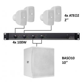 Set 4x Mini ATEO2 + Sub BASO10 + Ampli EPA104 - Blanc