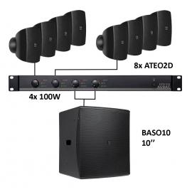 Set 8x Mini ATEO2D + Sub BASO10 + Ampli EPA104 - Noir