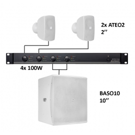 Set 2x Mini ATEO2 + Sub BASO10 + Ampli EPA104 - Blanc