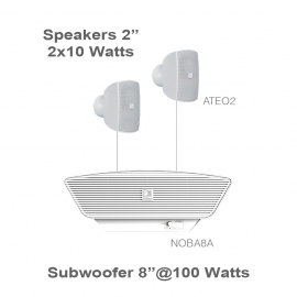 Set 2xATEO2 + NOBA8A Subwoofer/ampli - Blanc